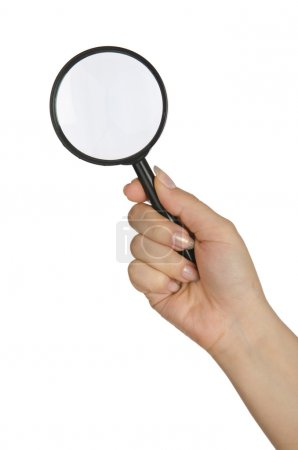 Photo pour Main tenant loupe sur blanc - image libre de droit