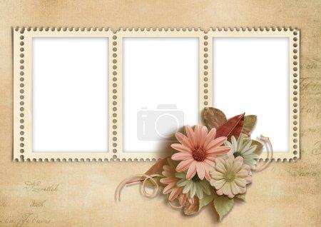 Photo pour Fond vintage avec cadres de timbres avec fleurs d'automne .page album familial - image libre de droit