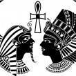Ancient egypt king and queen composition with wing...