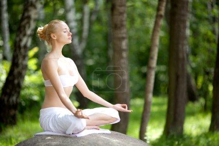 Photo pour Jeune fille faisant du yoga dans le parc - image libre de droit