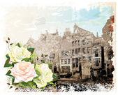 Vintage illusztrációja Amszterdam utca és a rózsa. Akvarell s
