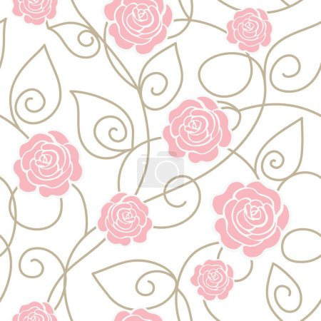 Illustration for Seamless floral pattern with roses - Royalty Free Image