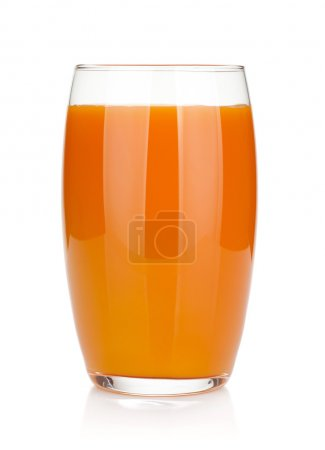 Photo for Fresh carrot juice glass. Isolated on white background - Royalty Free Image