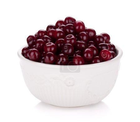 Fresh ripe cherries in bowl