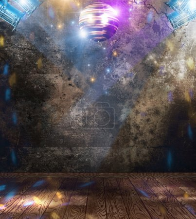 Photo for Disco ball in a grunge room - Royalty Free Image