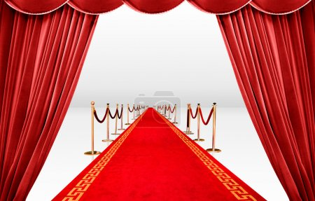 Photo for Red curtain with infinite carpet - Royalty Free Image
