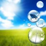 Solar panel and wind turbine inside soap bubbles...