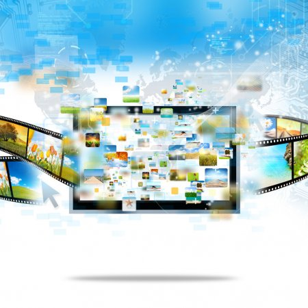 Photo pour Télévision moderne streaming image et film - image libre de droit