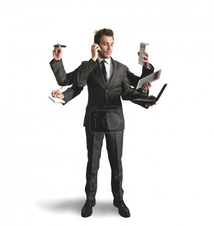 Photo for Businessman stressed by too many tasks - Royalty Free Image
