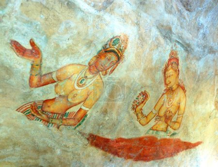 Apsara celestial nymphs - ancient painting on the walls in the L