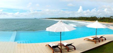 The panorama of the sea view swimming pool and beach, Bentota, S