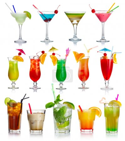 Photo for Set of alcohol cocktails isolated on white background - Royalty Free Image