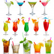 Set of alcohol cocktails isolated on white backgro...
