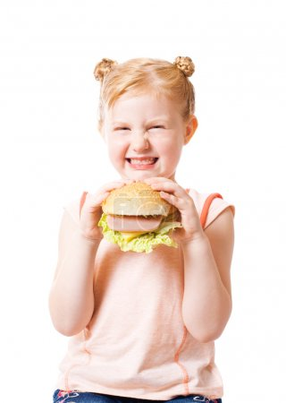 Dissatisfied girl with hamburger