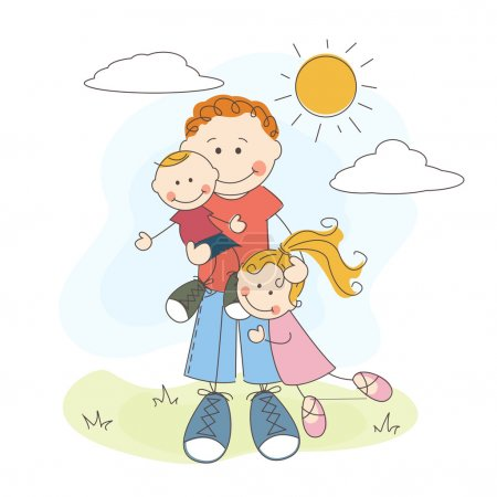 Illustration for Happy Father's Day, dad, son and daughter - Royalty Free Image