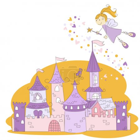 Fairy with magic wand and princess castle