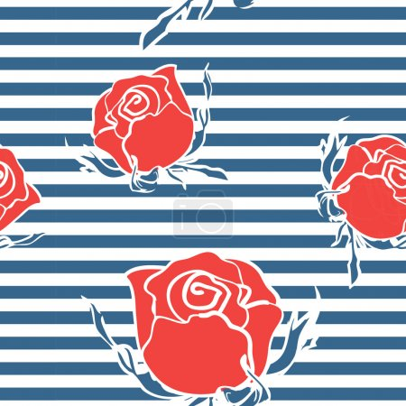 Seamless abstract pattern with roses on marine str...