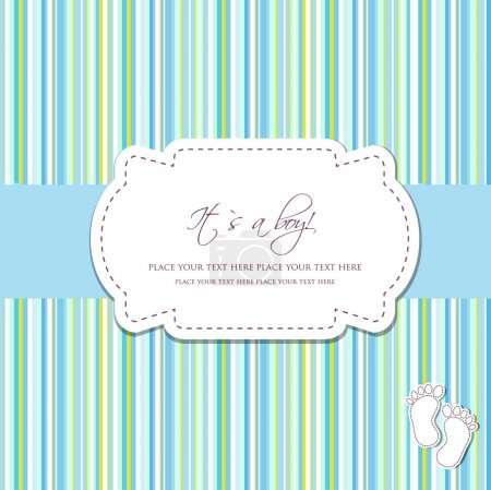 Illustration for Baby boy arrival card with two foot steps on polka dot background - Royalty Free Image