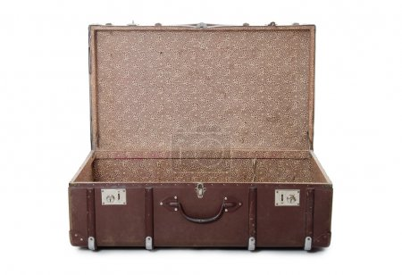 Open old suitcase isolated on white
