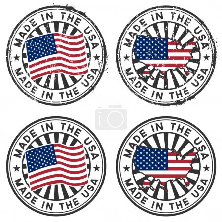 Stamp with map, flag of the USA. Made in the USA.
