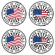 Stamp with map, flag of the USA. Made in the USA. ...