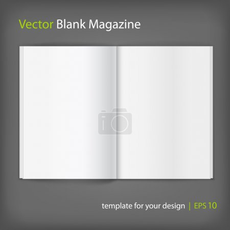 Illustration for Vector white blank magazine spread. Template for your design - Royalty Free Image