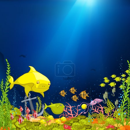 Illustration for Ocean Underwater Cartoon. Coral Reef with Alga and Fish. Vector. - Royalty Free Image