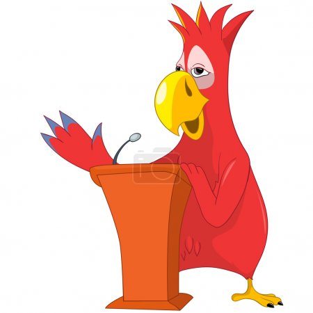 Illustration for Cartoon Character Funny Parrot Isolated on White Background. Presentation. Vector EPS 10. - Royalty Free Image