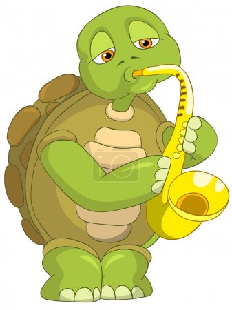 Illustration for Cartoon Character Funny Turtle Isolated on White Background. Saxophonist. Vector EPS 10. - Royalty Free Image