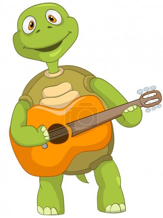 Illustration for Cartoon Character Funny Turtle Isolated on White Background. Guitarist. Vector EPS 10. - Royalty Free Image
