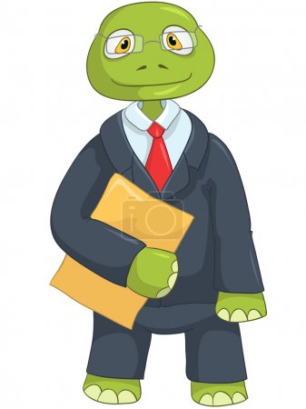 Illustration for Cartoon Character Funny Turtle Isolated on White Background. Businessman. Vector EPS 10. - Royalty Free Image