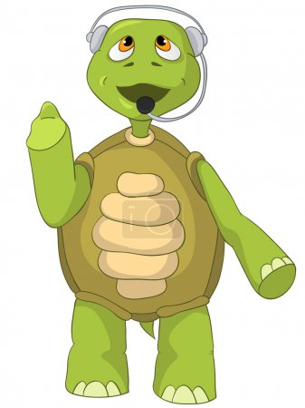Illustration for Cartoon Character Funny Turtle Isolated on White Background. Comunication. Vector EPS 10. - Royalty Free Image
