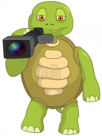 Illustration for Cartoon Character Funny Turtle Isolated on White Background. Cameraman. Vector EPS 10. - Royalty Free Image