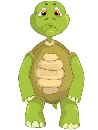Illustration for Cartoon Character Sad Turtle Isolated on White Background. Vector EPS 10. - Royalty Free Image