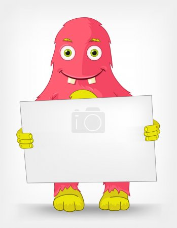 Illustration for Cartoon Character Funny Monster Isolated on Grey Gradient Background. Look Out. Vector EPS 10. - Royalty Free Image