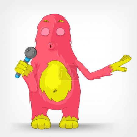 Illustration for Cartoon Character Funny Monster Isolated on Grey Gradient Background. Singing. Vector EPS 10. - Royalty Free Image