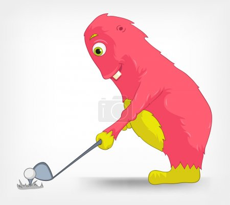 Illustration for Cartoon Character Funny Monster Isolated on Grey Gradient Background. Golf. Vector EPS 10. - Royalty Free Image