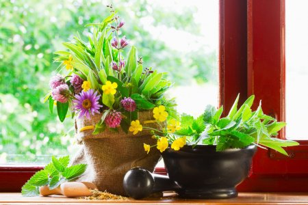 Photo for Sack with bouquet of healing herbs and flowers, mortar and pestle on windowsill - Royalty Free Image