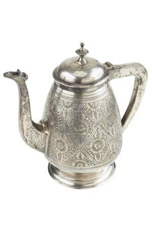 Retro silver teapot, jug isolated on white