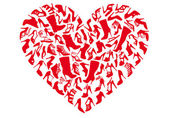 Red heart made of shoe silhouettes vector background