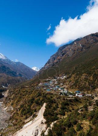Himalayas Landscape: highland village and mountains
