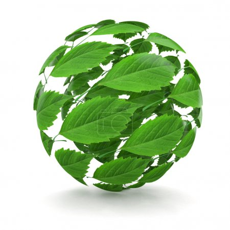 Photo for Spring. Sphere from green leaf on white background. 3d - Royalty Free Image