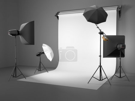 Photo for Photo studio equipment. Space for text. 3d - Royalty Free Image