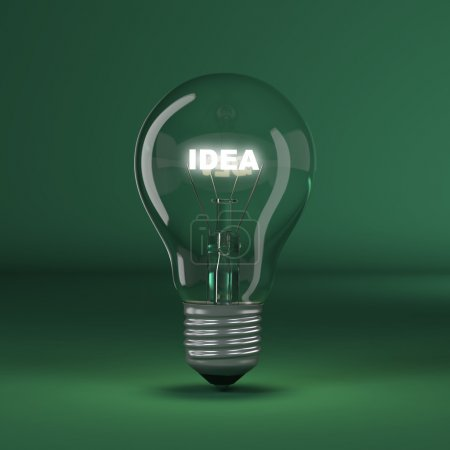 Photo for Light bulb with glowing text idea. 3d - Royalty Free Image