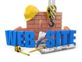 construction de site Web. grue, mur et outils. 3D