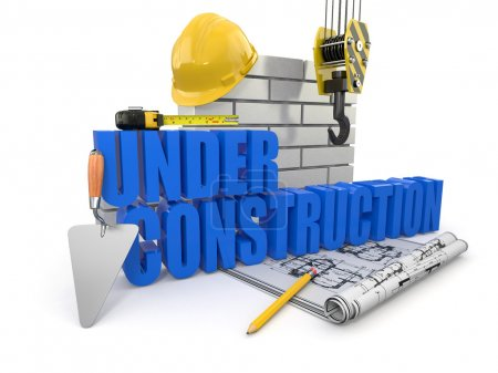 Photo for Under construction. Tools, hardhat and wall. 3d - Royalty Free Image