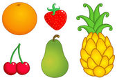 Fruits set: orange strawberry pineapple cherry and pear