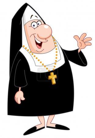 Illustration for Smiling nun waving - Royalty Free Image