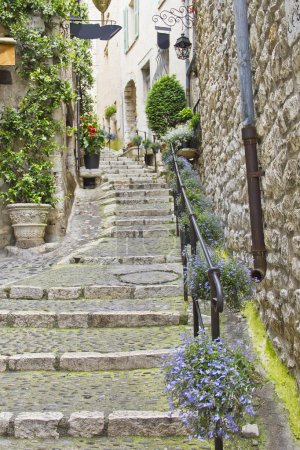 Street in the medieval city of Saint Paul de Vence, France