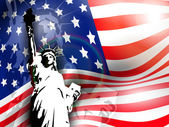 Statue of liberty on American flag background for 4th July Amer